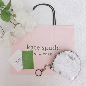 BNWT Kate spade white/gold floral half moon wallet